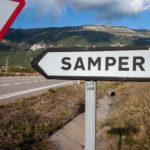 cartel nomenclator del pueblo de Samper
